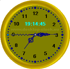 golden desk watch image view with digital time